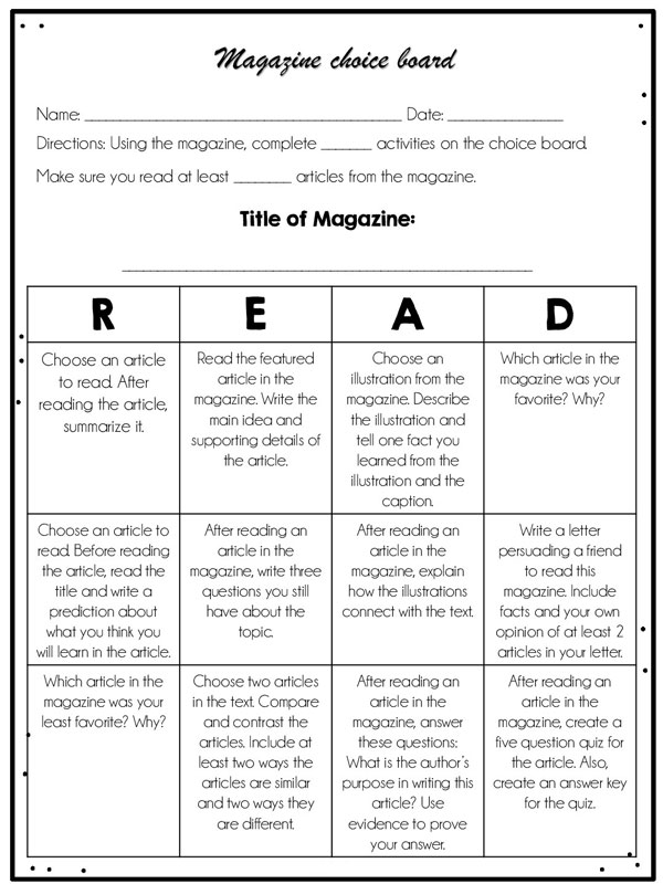Magazine Response worksheet