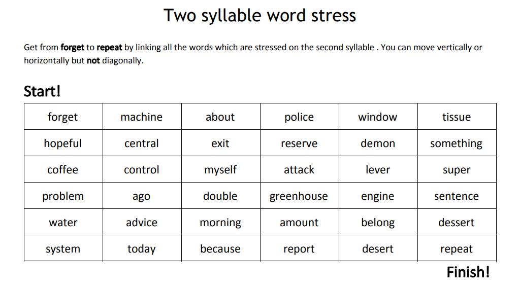word stress maze